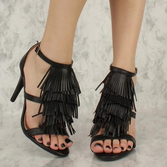 b38ad1150 Nordstrom Shoes   Black Fringe Stilettos   Poshmark